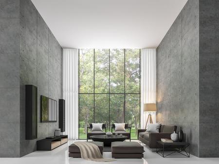 Salon de loft moderne intérieur image de salon moderne le salon est un grand plâtre en béton fermée en perspective et grandes fenêtres de fenêtre . vue de dessus le lit de jardin Banque d'images - 80707919