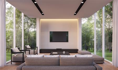 현대 거실 정원보기 3d 렌더링 Image.White 거실 유리 벽 나무 바닥 회색 패브릭 가구로 장식 된 정원으로 둘러싸여 있습니다. 스톡 콘텐츠