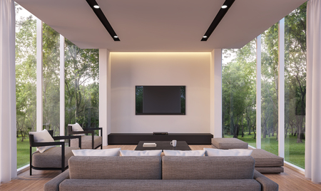 Modern living room with garden view 3d rendering Image.White living room with glass wall Wood floor Surrounded by gardens, furnished with gray fabric furniture. Banque d'images