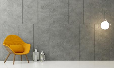 Moderno loft sala de estar Imagen de representación 3D Hay una pared de hormigón pulido con ranura. Suelos blancos y acabado con sillón de tela amarilla.