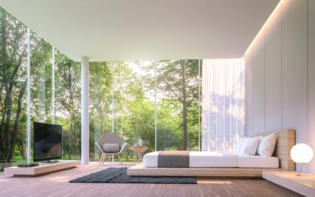 朝の 3 d レンダリング イメージのガーデン ビューのモダンなベッドルーム。周辺の庭園や自然を見渡すと木製の家具を終えた大きな窓があります。 写真素材