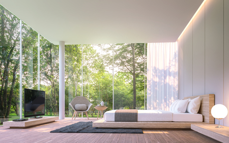 Modern bedroom with garden view in the morning 3d rendering image.There are large window overlooking the surrounding garden and nature and finished with wooden furniture