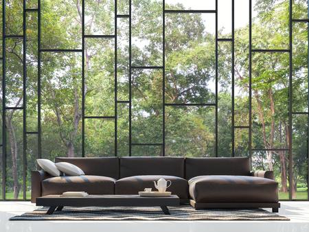Sala de estar moderna con vista al jardín Imagen de representación 3D. Hay ventana grande con vistas al jardín y la naturaleza Foto de archivo