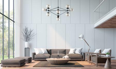 Soggiorno moderno con immagine di rendering 3d soppalco. Ci sono pavimenti in legno decorare parete con scanalatura. Arredato con mobili in tessuto marrone. Ci sono grandi finestre si affacciano per vedere la natura