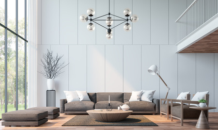 Modern living room with mezzanine 3d rendering image.There are wooden floor decorate wall with groove.furnished with brown fabric furniture.There are large windows look out to see the nature Foto de archivo