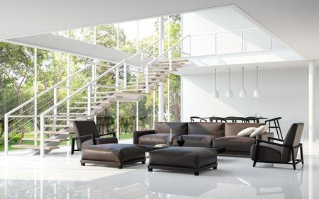 Moderne witte woonkamer en eetkamer 3d teruggevend beeld. De ruimte heeft een hoog plafond Een trap is een staalstructuur. Er zijn grote vensters kijken uit om de aard te zien