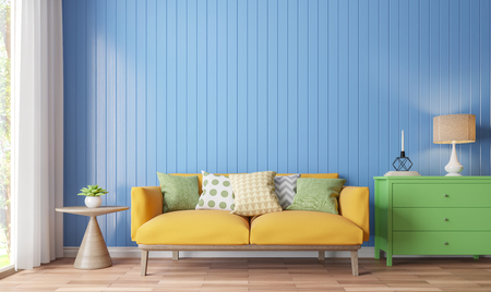 Colorful living room 3d rendering image.There are wood floor decorate wall with blue wooden plank .There are large windows look out to see the nature Archivio Fotografico