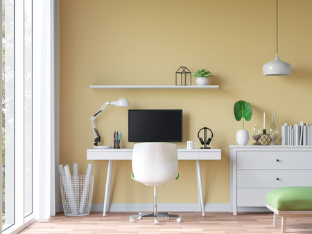 Modern vintage working room with yellow wall 3d rendering image.There are wood floor decorate wall with yellow paint.There are large windows look out to see the nature
