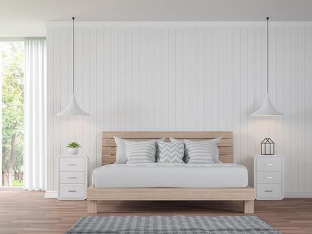 Chambre blanche moderne style vintage de style 3d est le plancher de bois est le mur avec le sol blanc foncé est des planches de vue de dessus pour voir la lumière de la nature Banque d'images - 83289663