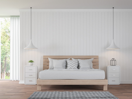 Modern white bedroom vintage Style 3d rendering image.There are wood floor decorate wall with white wooden plank .There are large windows look out to see the nature