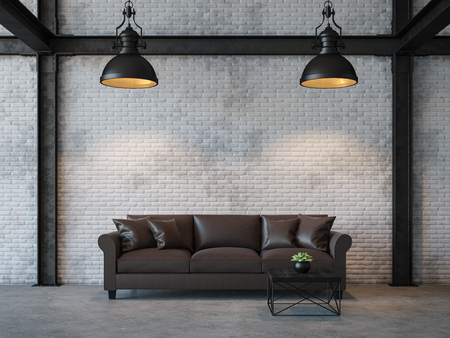 Loft style living room 3d rendering image.There are white brick wall,polished concrete floor and black steel structure.Furnished with dark brown leather sofa