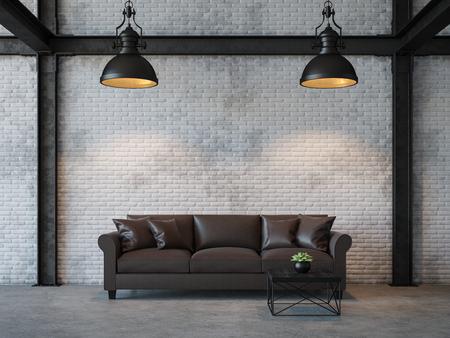 Salon de style loft image de rendu 3D. Il y a un mur de briques blanches, un sol en béton poli et une structure en acier noir. Fourni avec un canapé en cuir brun foncé Banque d'images