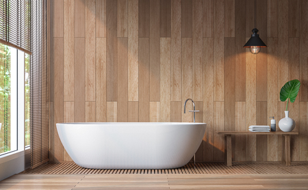 modern bathroom: Modern contemporary bathroom 3d rendering image.Decorate wall and floor with wood .There are large windows look out to see the nature