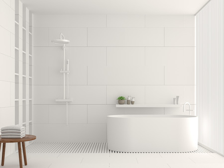 Modern white bathroom interior 3d rendering image. There are white tile white brick pattern on walls and floor. Decorated with white laths. Foto de archivo
