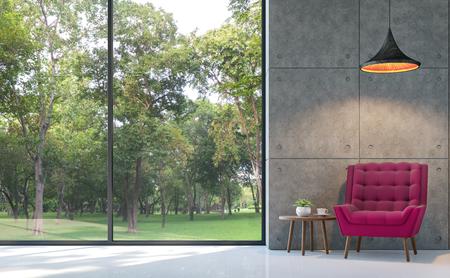 Loft stijl woonkamer 3D-rendering image.There zijn witte vloer, gepolijst betonnen muur Ingericht met paarse stoffen fauteuil.Er zijn grote ramen kijken uit op de natuur