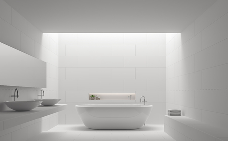 house ware: Modern white bathroom interior minimal style 3d rendering image.There are white tile with brick pattern on walls and floor,there is natural light shining down from above.