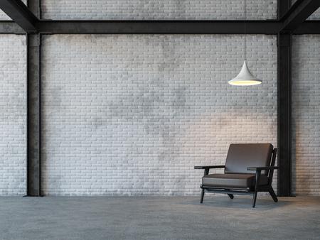 Loft estilo sala 3d rendering image.There son pared de ladrillo blanco, piso de hormigón pulido y black steel structure.Furnished con sillón de cuero marrón oscuro