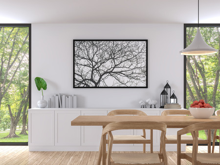 Modern white dining room 3d render image. There are wooden floor .There are large window overlooking to the garden and nature and furnished with wood furniture Standard-Bild