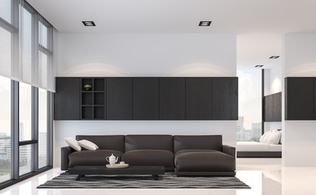 Modern black and white living room and bedroom interior 3d rendering image.There are white floor.Furnished with black wood furniture .There are large windows look out to see the city view
