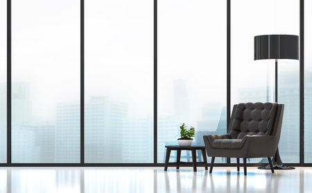 Modern living room 3D rendering image.There are white floor.Furnished with black wood and leather furniture .There are large windows look out to see the city background in the fog