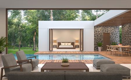 Moderne zeitgenössische Wiedergabe der Poolvilla 3d. Poolvilla umgeben von Natur, in der Mitte befindet sich ein Swimmingpool. Mit Holz und Natursteinen verziert.