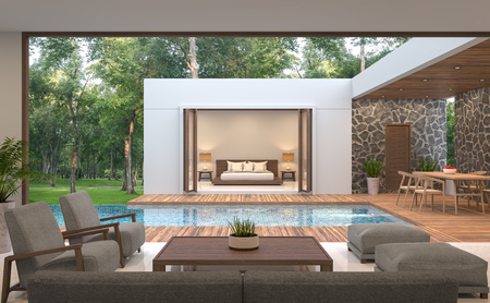 Modern contemporary pool villa 3d rendering image.Pool villa surrounded by nature, there is a swimming pool in the middle. Decorated with wood and natural stones.