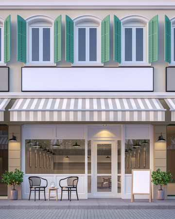 The front of the street shop 3d rendering image.There are a street shop, the building has classic style and pastel color scheme. The front store has footpaths and table sets.