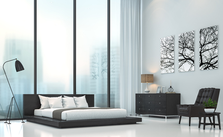 Modern white bedroom 3D rendering image.There are white floor.Furnished with black wood and leather furniture .There are large windows look out to see the city background in the fog