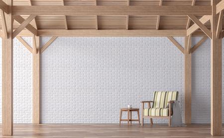 Wiedergabebild des Dachbodenartwohnzimmers 3d. Es gibt weiße Backsteinmauer, Holzfußboden- und Holzstruktur. Mit Weinleselehnsessel Sitzkissen ist Pastell gefärbt