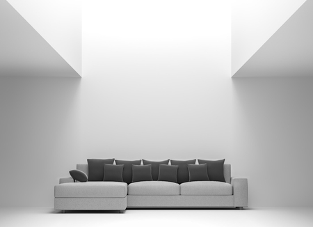 Modern white living room interior minimal style 3d rendering image.There are pure white room,Furnished with black and gray fabric furniture,There is natural light shining down from above.