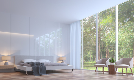 Modern white bedroom minimal style 3d rendering image.The room has wooden floor,There are large window overlooking to the nature