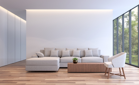 Modern white living minimal style 3d rendering image.The room has wooden floor,There are large window overlooking to the nature