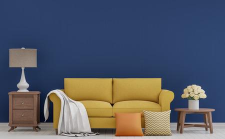 Kleurrijk uitstekend woonkamer 3d teruggevend beeld. De ruimte heeft witte houten vloer, donkerblauwe muur die met gele stoffenbank wordt geleverd