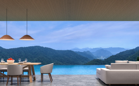 Loft style pool villa living and dining room with mountain view 3d rendering image.The room has polished concrete floor,wood lattice ceiling.Looking out to the mountains view.