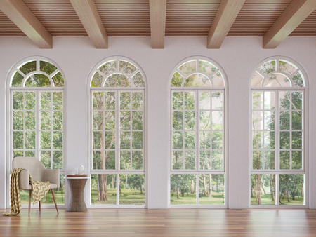 Scandinavian living room 3d rendering image.The Rooms have wooden floors and ceilings with white walls .There are arch shape window overlooking to the nature.