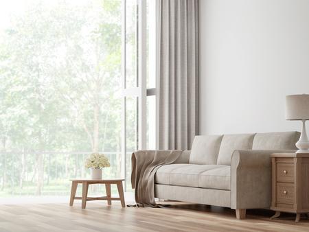 Vintage woonkamer 3D-rendering image.The kamers hebben houten vloeren en witte muren. Er zijn grote open deur met uitzicht op de natuur.