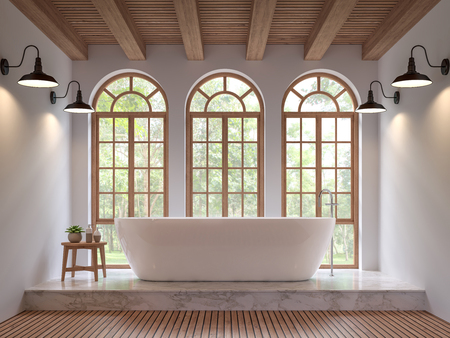 Scandinavian bathroom 3d rendering image.The Rooms have wooden and white marble floors,wooden ceilings and white walls .There are arch shape window overlooking to the nature. Banco de Imagens