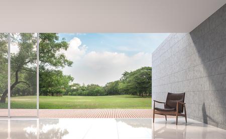 Modernes Dachbodenwohnzimmer mit Bild der Wiedergabe der Gartenansicht 3d. Die Räume haben weiße Fliesenböden, dort sind große offene Türen. Mit Blick auf die Holzterrasse und den großen Garten.