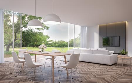Moderne eet- en woonkamer met uitzicht op de tuin 3D-rendering afbeelding. De kamers hebben houten vloeren, er zijn grote open deuren. Kijkt uit over een houten terras en een grote tuin.