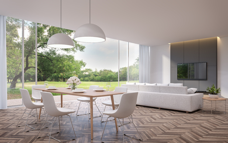 Moderno comedor y sala de estar con vista al jardín imagen de representación 3D. Las habitaciones tienen pisos de madera, hay grandes puertas abiertas. Tiene vistas a la terraza de madera y a un gran jardín.
