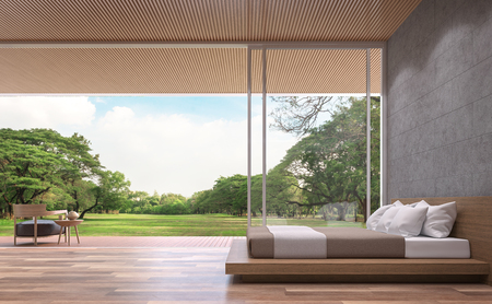 Modern contemporary bedroom 3d rendering image.The Rooms have wooden floors,concrete tile wall and wood lattice ceiling.furnished with wood furniture.There are open doors overlooks to big garden.