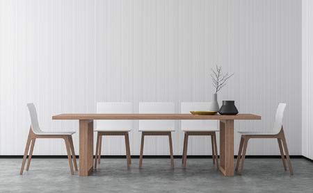 Imagen de renderizado 3D de comedor de estilo minimalista. Hay piso de concreto, decorar la pared con celosía de madera blanca y acabado con muebles de madera.