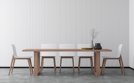 Minimal style dining room 3d rendering image.There are concrete floor,Decorate wall with white wood lattice and finished with wood furniture. Stock Photo