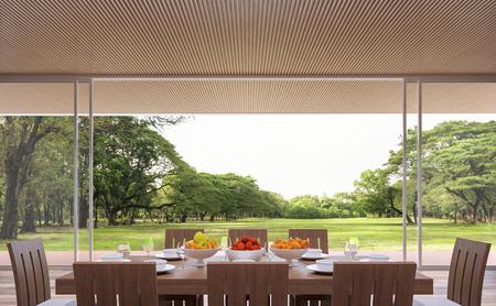 현대 현대 식당 3d 렌더링 이미지입니다. 방에는 나무 격자 천장이 있습니다. 목제 가구로 꾸며져 있습니다. 큰 문이 있습니다. 목재 테라스와 넓은 정원이 내려다 보입니다.