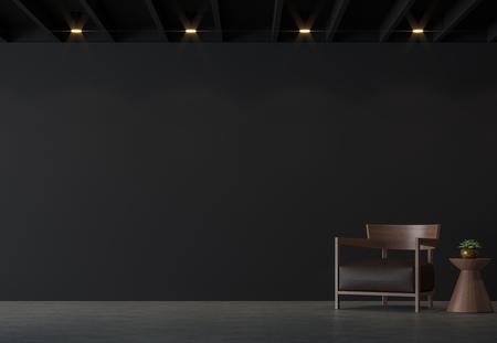 Moderne loft woonkamer met zwarte muur 3D-rendering afbeelding. Er zijn gepolijste betonnen vloer, zwarte muur en zwart houten plafond ingericht met bruin leer en houten meubels