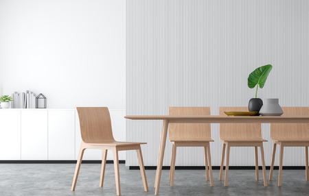 Minimal style dining room 3d rendering image.There are concrete floor,Decorate wall with white wood lattice and finished with wood furniture. Stok Fotoğraf