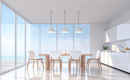 Modern white dining room with sea view 3d rendering image.There are white tile floor.Furnished with white and wood furniture.There are large window overlooks to sea view.