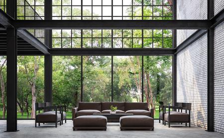 Soggiorno in stile loft con vista sulla natura 3d rendering immagine.Ci sono muro di mattoni bianchi, pavimento in cemento lucido e struttura in acciaio nero. Arredato con divano in pelle marrone scuro.