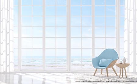 Moderna sala blanca con vista al mar render 3D. Hay piso blanco y ventana blanca. Amueblado con sillón azul claro. Hay grandes ventanales con vistas al mar. Foto de archivo
