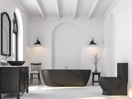Minimal bathroom with black and white 3d render.There are white wooden floor.Furnished with black sanitary ware and furniture.